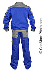 Back side of blue-gray male worker s jumpsuit with jacket isolated on white background