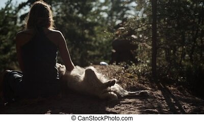 Back side of girl scratching a big dog in forest. Summer sunny day. Slow motion.