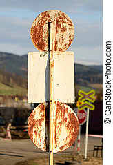 Back side of old rusty traffic sign
