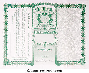 Back Side Reverse Old U.S. Paper Stock Certificate - Reverse...
