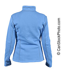 Back side view of blue female fleece sport jacket isolated on white background