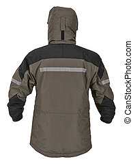 Back side view of gray male sport jacket with hood isolated on white background