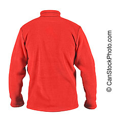 Back side view of male red fleece sport jacket isolated on white background
