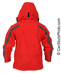 Back side view of red sport jacket with hood isolated on white background