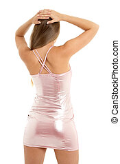 back - sporty girl in pink dress
