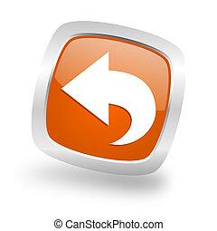 back square orange glossy chrome silver metallic web icon
