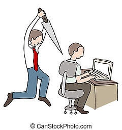 Back Stabbing Coworker - An image of a back stabbing...