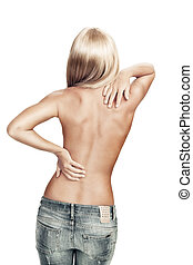 back - View of nice young wonam back on white back