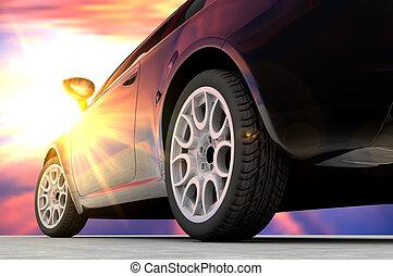 Back sunset car
