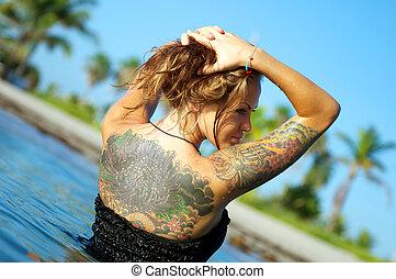 back., tatuaggi, donna, lei