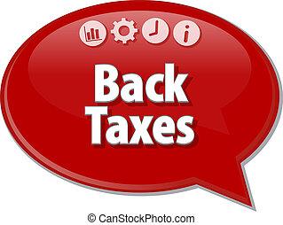 Back Taxes Business term speech bubble illustration - Speech...