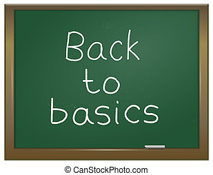 Illustration depicting a green chalk board with the words 'back to basics' written on it in white chalk.