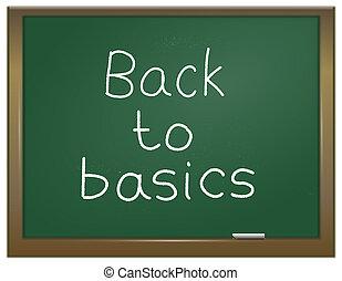 Back to basics. - Illustration depicting a green chalk board...