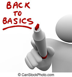 Back to Basics Writing Message Red Marker - The words Back...