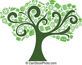 back to la escuela, -, árbol, con, educación, iconos