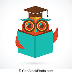 back to la escuela, búho, con, libro, y, tapa graduación,...