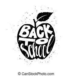 back to la escuela, cartel, con, manzana