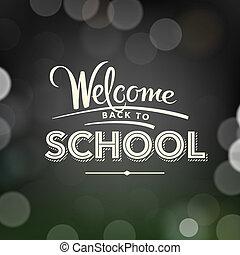 back to la escuela, cartel, con, texto, en, pizarra