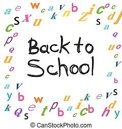 back to la escuela, con, cartas, plano de fondo