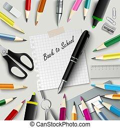back to la escuela, con, diseño, ayudas, fondo