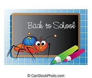 back to la escuela, con, hormiga