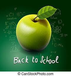 back to la escuela, con, manzana verde, en el escritorio