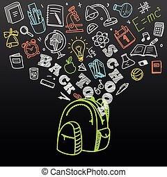 back to la escuela, concept., caer, iconos, a, el, bolsa escuela