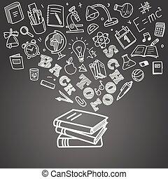 back to la escuela, concept., caer, iconos, a, el, libros