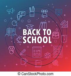 back to la escuela, concept., diferente, línea fina, iconos, included