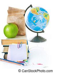 back to la escuela, concept., libros de la escuela, y, manzana verde, aislado, blanco