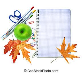 back to la escuela, concepto, design., papelería