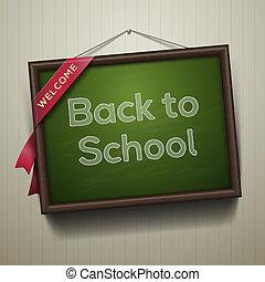 back to la escuela, escrito, en, pizarra, con, tiza