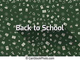 back to la escuela, fondo verde, con, iconos