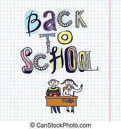 back to la escuela, garabato, concepto