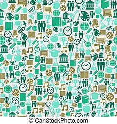 back to la escuela, iconos, educación, seamless, pattern.