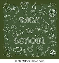 back to la escuela, iconos