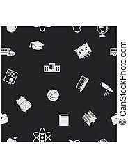 back to la escuela, iconos, seamless, pattern., educación, oscuridad, fondo., vector, ilustración