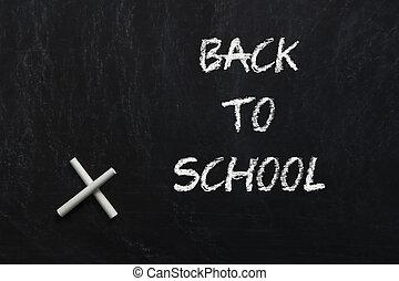 back to la escuela, letras, encima, pizarra, fondo negro