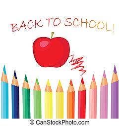 back to la escuela, libros de la escuela, con, manzana, en el escritorio, vector, eps10, ilustración
