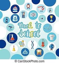 back to la escuela, logotipo, texto, fondo, con, studing,...
