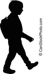 back to la escuela, niño, silueta
