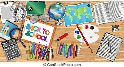 back to la escuela, plano de fondo, con, educación, objeto