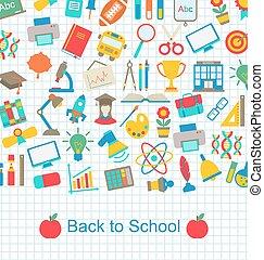 back to la escuela, plano de fondo, con, educación, objetos