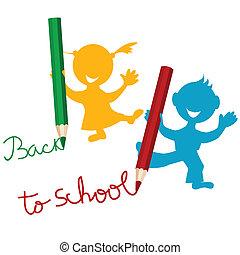 back to la escuela, plano de fondo, con, niños