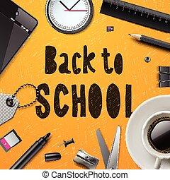 back to la escuela, plantilla, con, artículos de escritorio