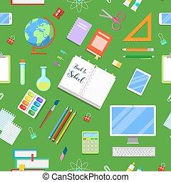 back to la escuela, seamless, plano de fondo, con, educación, icons., vector, ilustración