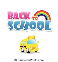 back to la escuela, texto, con, eduque autobús, en, el, fondo blanco