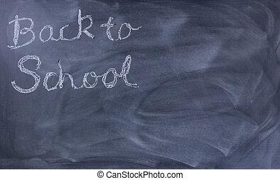 back to la escuela, texto, en, erased, pizarra