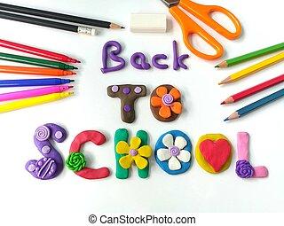 back to la escuela, texto, plasticine, y, papelería, colorido, arcilla, masa, fondo blanco, hermoso, papel pintado