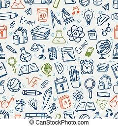 back to la escuela, tiza, doodles, negro, seamless, pattern., educación, elementos, clip-art, para, diseño